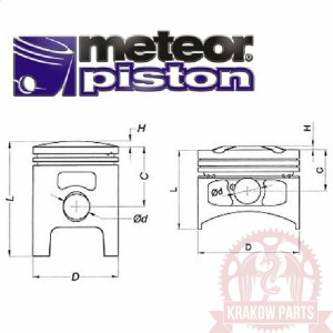 Piston kit VESPA P 125 K (54.70) PC1164220 Meteor